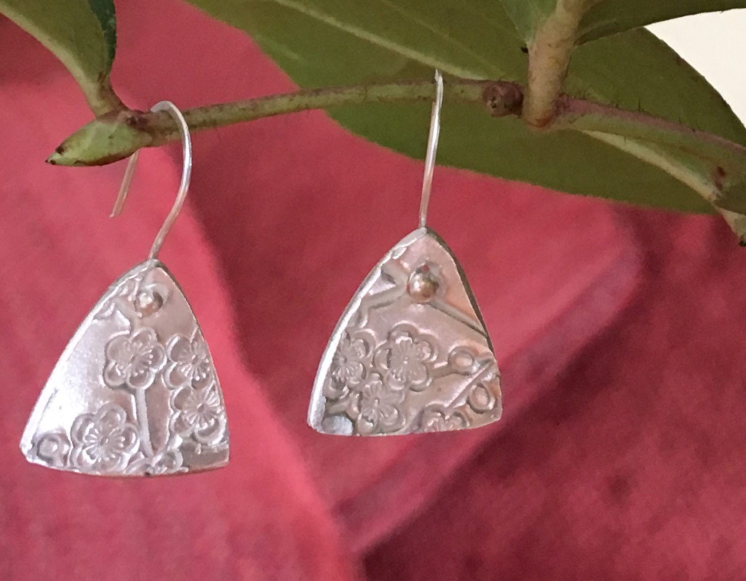 Cherry Blossom Triangle Fine Silver Earrings 1